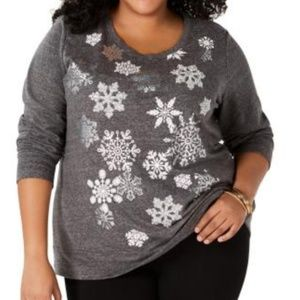 Plus Size Snowflake-Graphic Sweatshirt